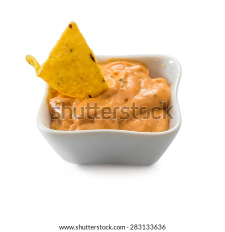 mexican nachos chips  on white background - stock photo