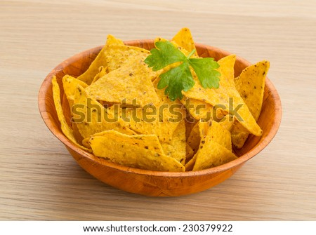 Mexican Nachos in the bowl - stock photo