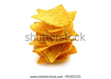 Mexican nachos on white background - stock photo
