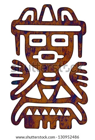 Mexican Pattern - Tribal Man Figure - stock photo