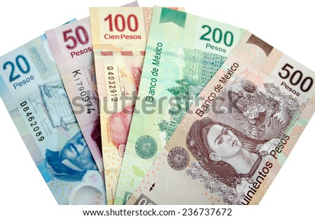 Mexican Pesos, bank notes isolated on white background - stock photo