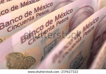 Mexican Pesos Closeup - stock photo