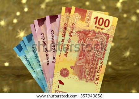 mexican pesos from latin american - stock photo