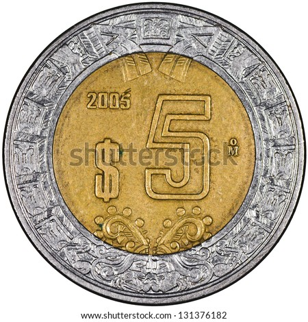 Mexican 5 Pesos Gold and Silver Coin Reverse showing the Ring of Serpents of the Aztec Isolated - stock photo