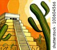 Mexican pyramid - stock photo