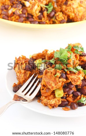 Mexican rice chicken and beans