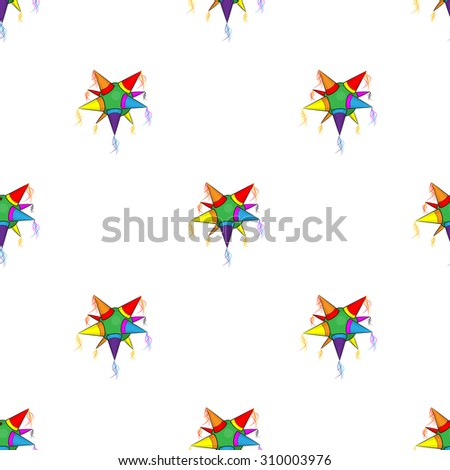 Mexican star pinata pattern on white background - stock photo