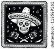 Mexican sugar skull. Raster version. - stock vector