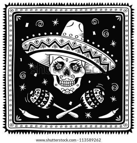 Mexican sugar skull. Raster version. - stock photo