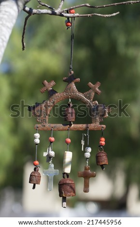 mexican themed wind chime for day of the dead festival - stock photo
