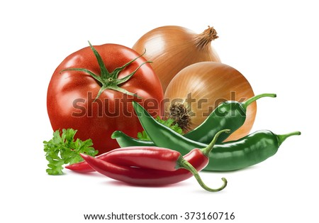 Mexican vegetables set tomato onion chili pepper parsley isolated on white background as package design element - stock photo
