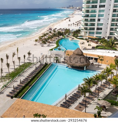 MEXICO, CANCUN - 14 MARCH 2015: Luxury hotel Bay View Grand Porto Fino with a swimming pool 
