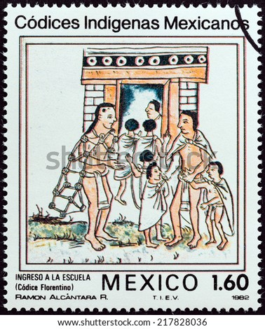 "MEXICO - CIRCA 1982: A stamp printed in Mexico from the ""Native Mexican Codices - Florentine Codex "" issue shows Admission to School, circa 1982.  - stock photo"