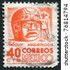 MEXICO - CIRCA 1951: A stamp printed in the Mexico, shows a giant stone head Olmec, La Venta, circa 1951 - stock photo