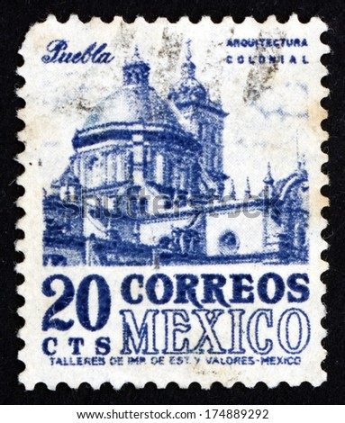 MEXICO - CIRCA 1950: a stamp printed in the Mexico shows Puebla Cathedral in the City of Puebla, Mexico, circa 1950 - stock photo