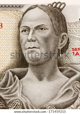 MEXICO - CIRCA 1971: Josefa Ortiz de Dominguez (1773-1829) on 5 Pesos 1971 Banknote from Mexico. Insurgent and supporter of the Mexican war of independence against Spain.