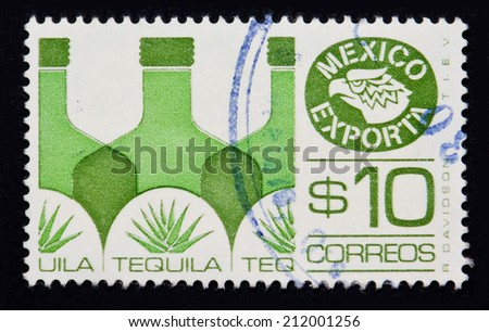 MEXICO - CIRCA 1980: Stamp printed in the Mexico export tequila - stock photo