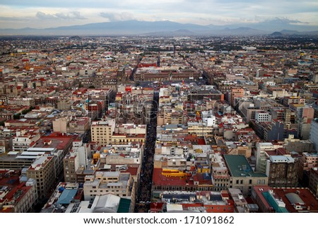 Mexico City aerial view from skyscraper in downtown. - stock photo