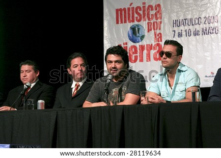 MEXICO CITY - APRIL 6: (L-R) Ing Oscar Abraham Lopez, Agustin Pumarejo, Iguana and Javier attends Festival Music for the Earth Music Fest press conference at El Lunario April 6, 2009 in Mexico City. - stock photo