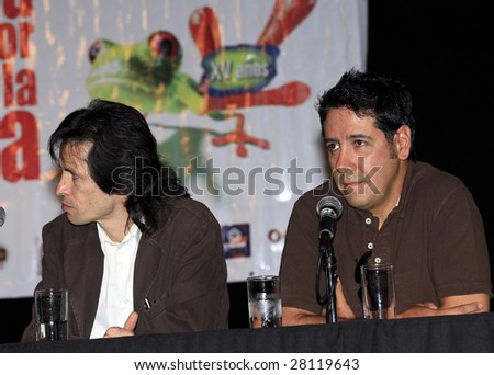 MEXICO CITY - APRIL 6: (L-R) Kerigma rock band members Sergio and  Arturo attend Festival Music for the Earth Music Fest press conference at El Lunario Concert Hall April 6, 2009 in Mexico City. - stock photo