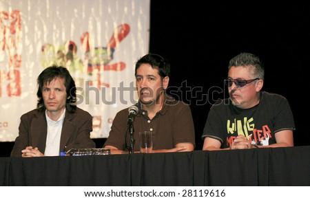 MEXICO CITY - APRIL 6: (L-R) Sergio Silva, Arturo and Mauricio Claveria attend Festival Music for the Earth Music Fest press conference shoot at El Lunario Concert Hall April 6, 2009 in Mexico City. - stock photo