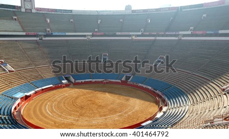 Mexico City, D.F, Mexico City - December 31, 2012: View of the empty Plaza de Toros Mexico, also known as La Monumental o La México and is the world's largest bullfighting arena.