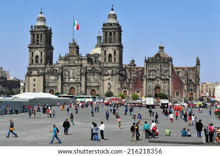 MEXICO CITY -  FEB 28 2010: The Metropolitan Cathedral at the Zocolo square in Mexico City, Mexico. It is the largest cathedral in the Americas and seat of the Roman Catholic Archdiocese of Mexico - stock photo