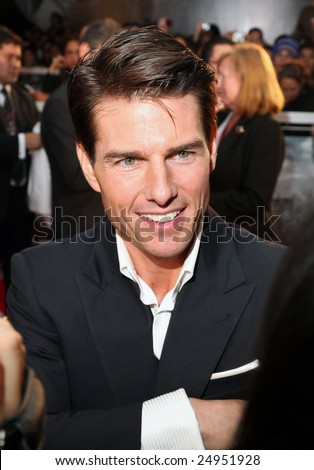 "MEXICO CITY - JANUARY 5, 2009:  Actor Tom Cruise attends the ""Valkyrie"" red carpet premier at Cinemex Santa Fe Mall, Mexico, City, Mexico. - stock photo"