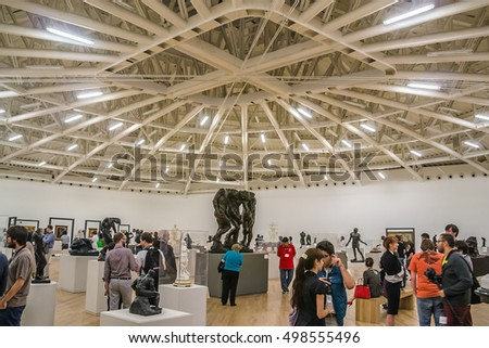 MEXICO CITY - JULY 15, 2015: Interior of Soumaya museum (Museo Soumaya). Soumayo Museum has over 66,000 works from 30 centuries of art.