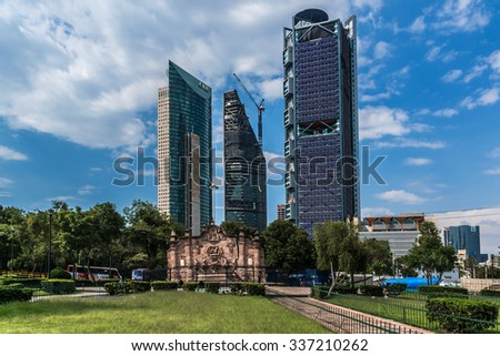 MEXICO CITY - JULY 15, 2015: Modern and ancient architecture. View from the Chapultepec. - stock photo