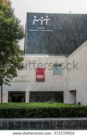 MEXICO CITY - JULY 15, 2015: Museum of Memory and Tolerance opened in October 2010 was designed by Arditti RDT architects. Entrance to the museum.
