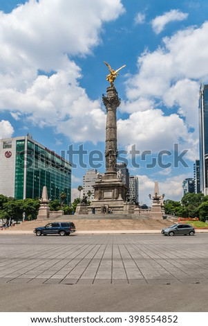 MEXICO CITY - JULY 15, 2015: Paseo de la Reforma is a wide avenue in downtown Mexico City. It was designed by Ferdinand von Rosenzweig in 1860s. It is now home to many of Mexico's tallest buildings.