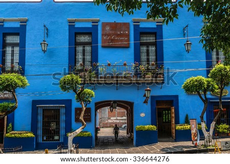 MEXICO CITY - JULY 15, 2015: The ancient part of the town south of the capital: colorful houses and convents. - stock photo