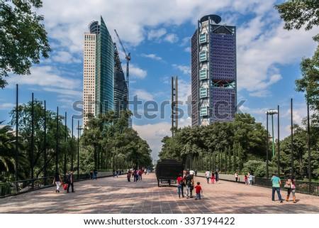 MEXICO CITY - JULY 15, 2015: View of Bosque de Chapultepec (Chapultepec Park), the biggest park in Mexico City and one of the biggest city parks in the world. - stock photo