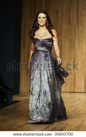 MEXICO CITY-May 18 2009: Actress Alicia Machado walks the runway during the Stars Night (Celebrities) runaway at Mercedes-Benz Fashion Mexico Autumn/Winter 2009 - stock photo