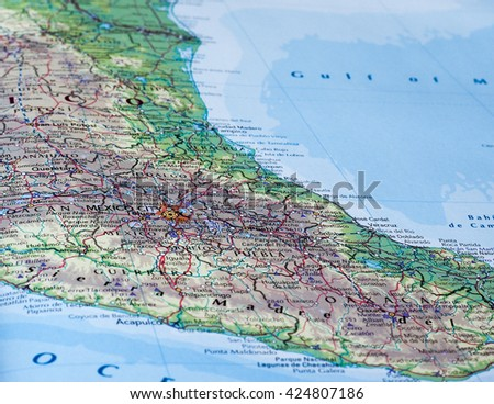 MEXICO CITY, MEXICO - CIRCA MAY 2016: Map of Mexico with selective focus on name of country - stock photo