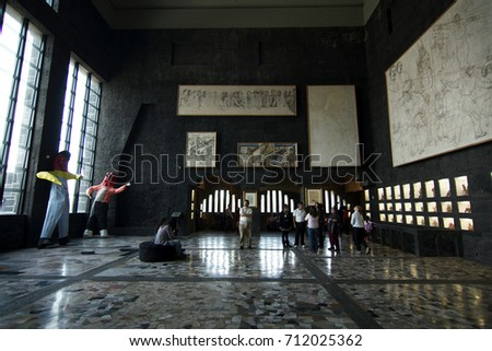 MEXICO CITY, MEXICO - 2012: Interior of the Anahuacalli Museum, created be Diego Rivera.