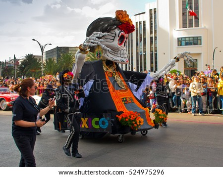Mexico City, Mexico - October 29, 2016 : Day of the dead parade in Mexico city. The Day of the Dead is one of the most popular holidays in Mexico.