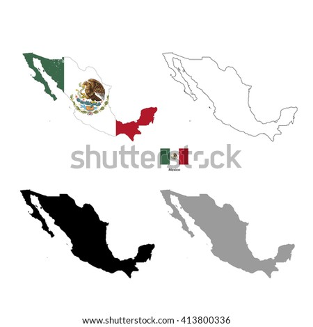 Mexico country black silhouette and with flag on background, isolated on white - stock photo