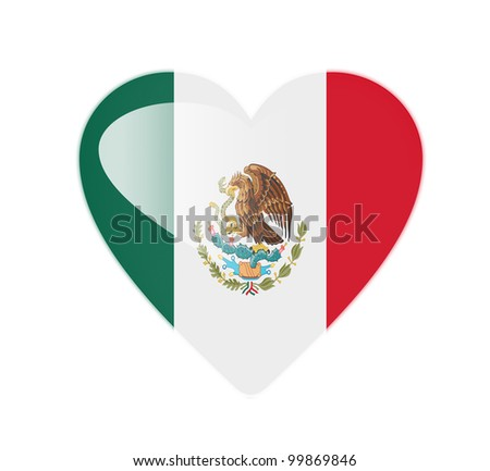 Mexico 3D heart shaped flag