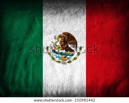 Mexico flag  and wall background - stock photo