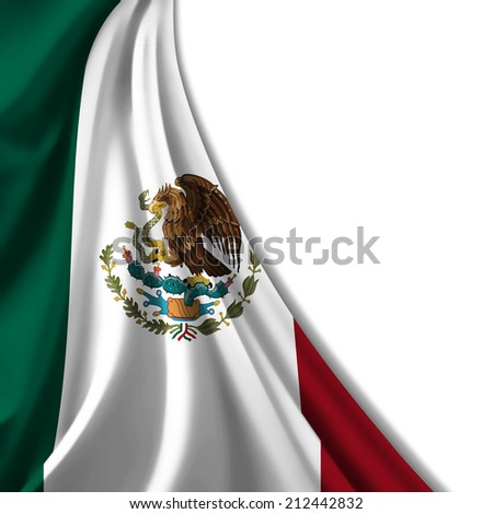 Mexico flag and white background - stock photo