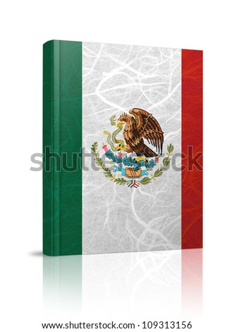 Mexico flag book. Mulberry paper on white background.