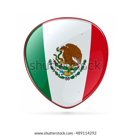 Mexico Flag Icon, isolated on white background.