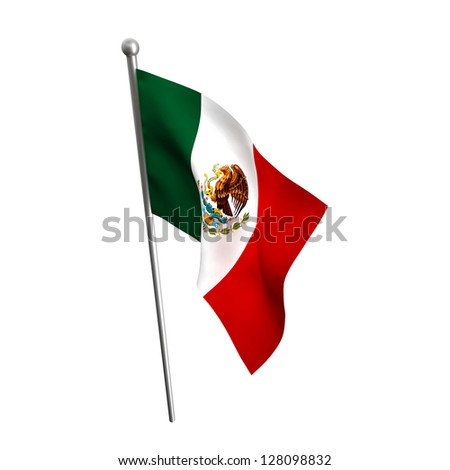 mexico flag isolated on white - stock photo