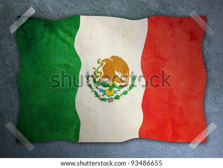 Mexico flag on cement wall - stock photo