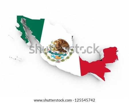 mexico flag on 3d map - stock photo