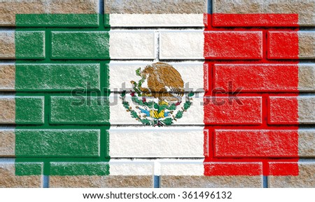 Mexico flag painted on old brick wall texture background - stock photo