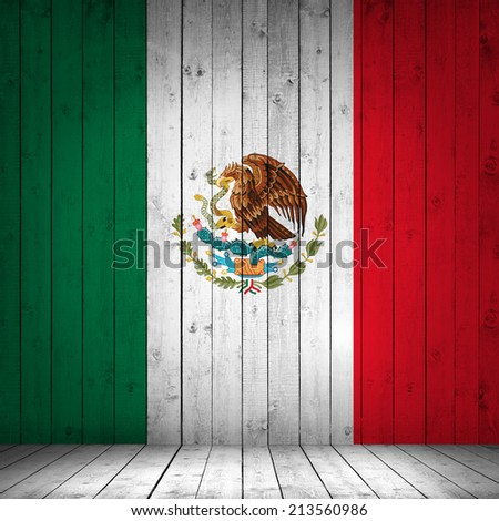 Mexico flag with wood background - stock photo