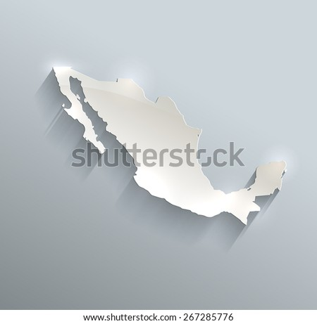 Mexico map blue white card paper 3D raster - stock photo